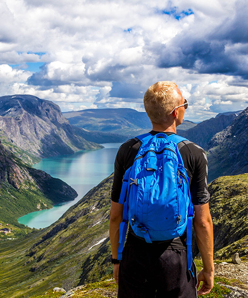 young man looking at amazing view