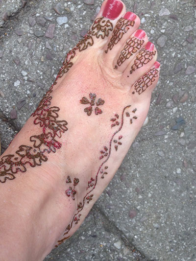 foot with henna design