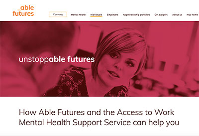 screenshot of Able Futures website